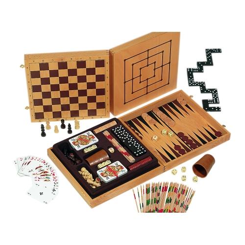 exklusive spielesammlung aus holz mit 6 spieleklassikern und mehr kaufen bei. Black Bedroom Furniture Sets. Home Design Ideas