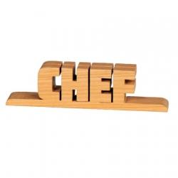 Bethel proWerk Schriftzug Chef aus Holz - Ahorn - ca 17,5 cm lang