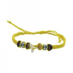 holzspielerei Stoffarmband mit Haizahn gelb 281309