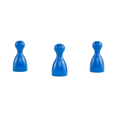 Chinese checkers pieces - Meeple - wooden - blue - 24 x 12 mm