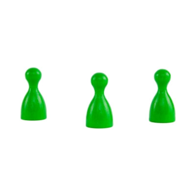 Chinese checkers pieces - Meeple - wooden - green - 24 x 12 mm