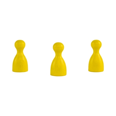 Chinese checkers pieces - Meeple - wooden - yellow - 24 x 12 mm