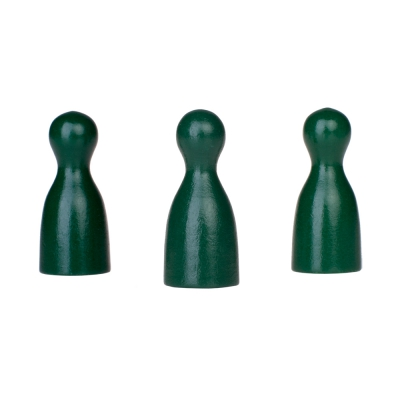 Chinese checkers pieces - Meeple - wood - green - 40 x 18 mm