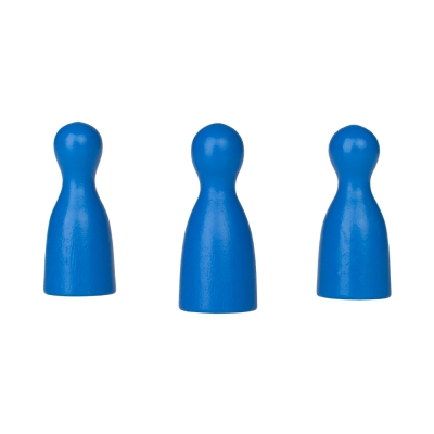 Chinese checkers pieces - Meeple - wood - blue - 40 x 18 mm