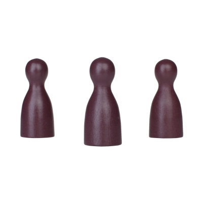 Chinese checkers pieces - Meeple - wood - purple - 40 x 18 mm