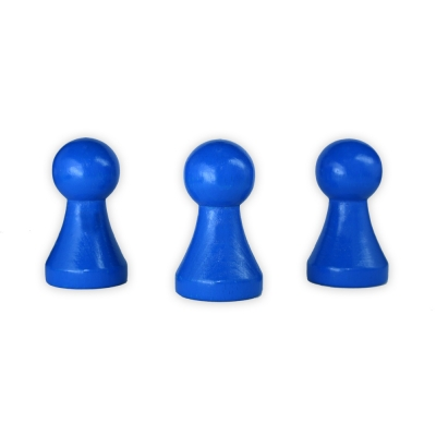 XXL Chinese checkers pieces - Meeple - wood - blue - 50 x 28 mm