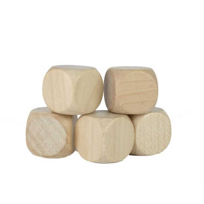 Blank Dice (6) - natural - maple - wooden - 16 mm