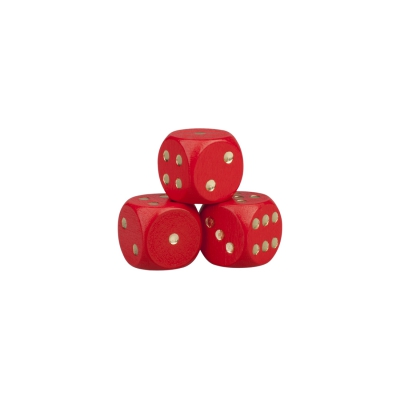 Dice - wooden - red - D6 -  16 mm