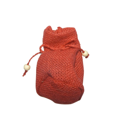 Jute fabric bags - ca. 10 x 7,5 cm - red
