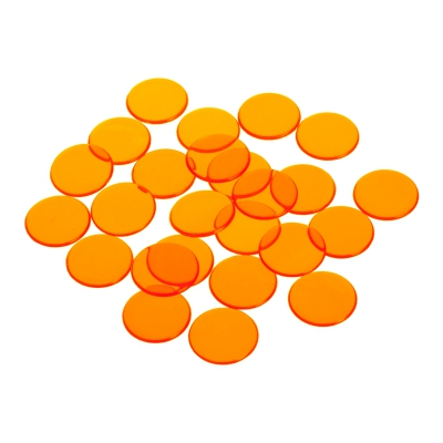 playing chips - gaming token - 22 mm - orange - transparent