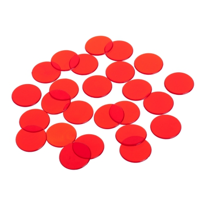playing chips - gaming token - 22 mm - red - transparent