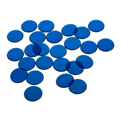 Spielchips - 22 mm - blau - transparent