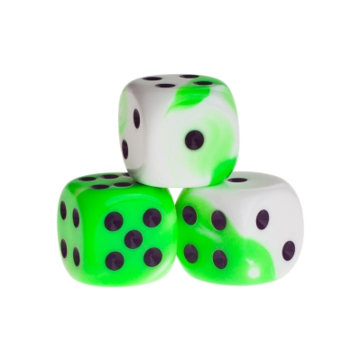 Dice - Berlin - green - plastic - 16 mm