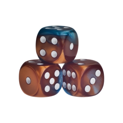 Dice - Los Angeles - blue-bronze - plastic - 16 mm