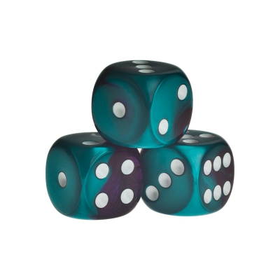Dice - Los Angeles - green-purple - plastic - 16 mm