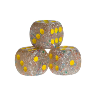 Dice - Las Vegas - lucent yellow - plastic - 16 mm