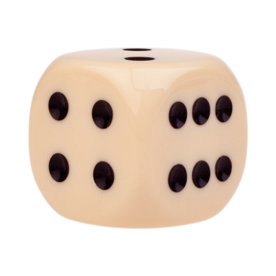 Dice (6) - ivory - plastic material - 30 mm
