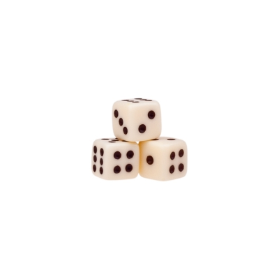 Dice (6) - ivory - plastic material - 7 mm