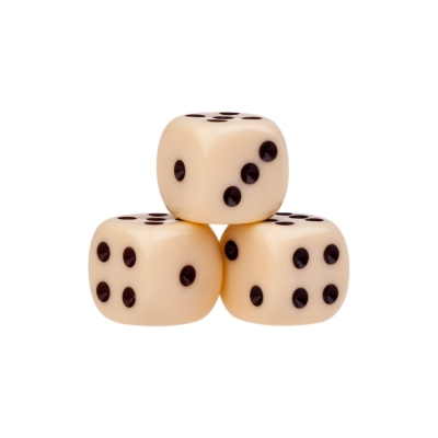 Dice (6) - ivory - plastic material - 14 mm