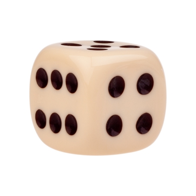 Dice (6) - ivory - plastic material - 25 mm
