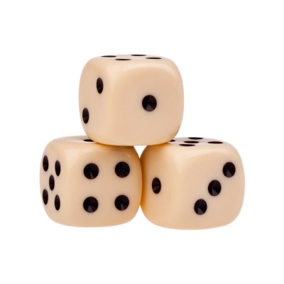 Dice (6) - ivory - plastic material - 18 mm