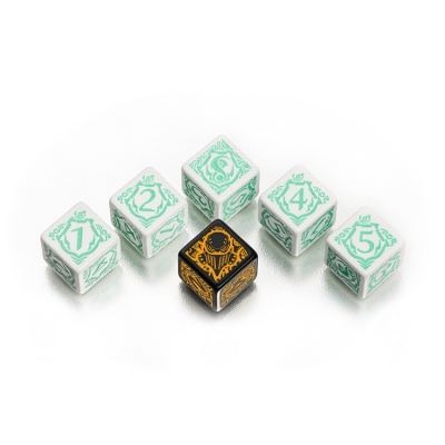 Warmachine Retribution of Scyrah Faction Dice - white and green - 6 pieces