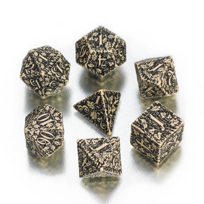 Forest 3D Dice Set BOX - beige and black - 7 pieces