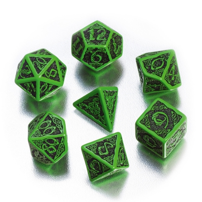 Celtic 3D Revised Dice Set BOX - green and black - 7 pieces
