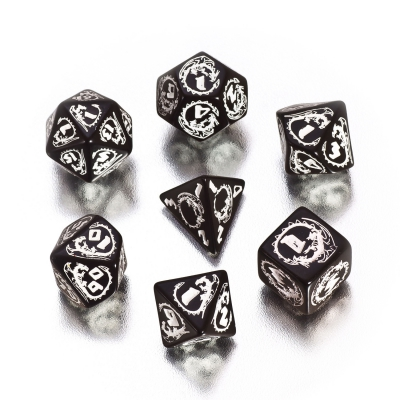 Dragons Dice - black and white - 7 pieces