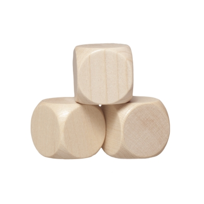 Blank Dice (6) - maple - wooden - 20 mm
