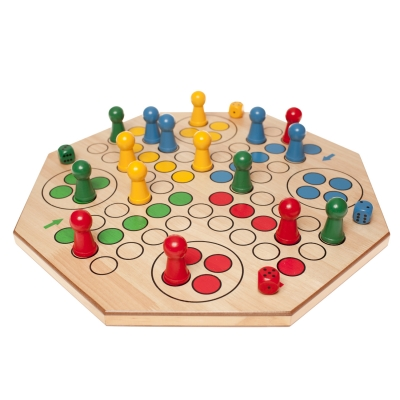 Dice game maxi - Ludo -  wooden board and