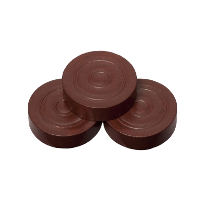 Playing pieces - circular - wood - brown - 25 x 7 mm