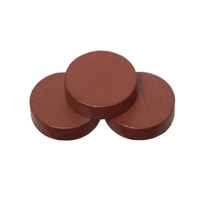 Playing pieces - circular - wood - brown - 21 x 6 mm