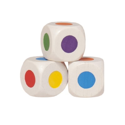 Wooden color dice - 16mm