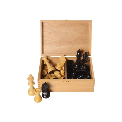 Chessmen Boxwood black-nature - king szie 95 mm