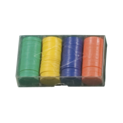 100 playing chips in 5 colors - 4g each