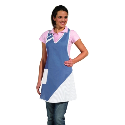 Bib Apron - royal blue-white