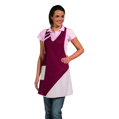 Bib Apron - bordeaux-red-white