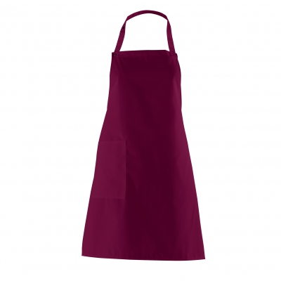 Bib Apron with side Pocket - bordeaux-red - 75 cm