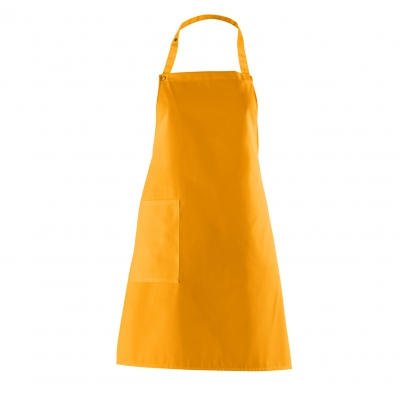 Bib Apron with side Pocket - mango - orange - 75 cm