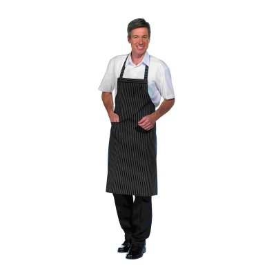 Bib Apron with Pocket - black-white - 90 cm