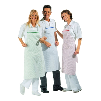 Bib Apron - adjustable - blue-white - 80x80 cm