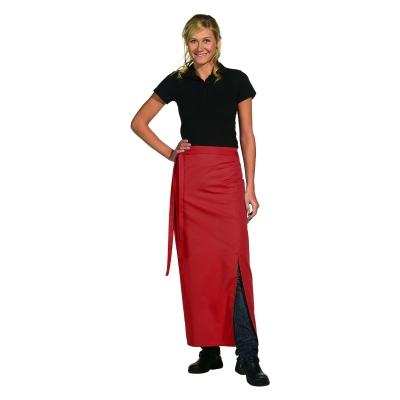 Bistro Apron Exclusive - with walking slit - red - 100x100 cm