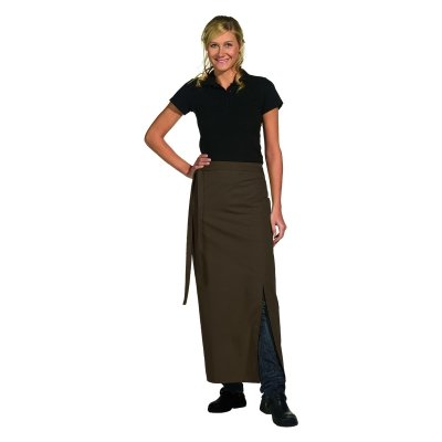 Bistro Apron Exclusive - with walking slit - brown - 100x100 cm