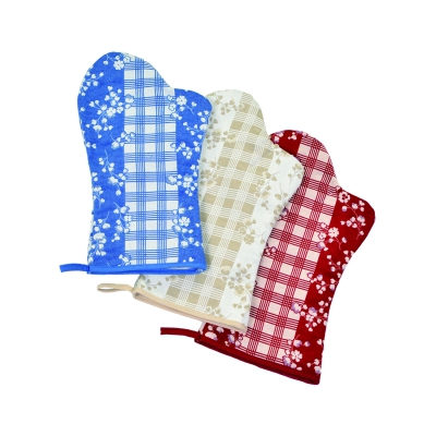 Oven gloves - provence series - red - 35 cm lang