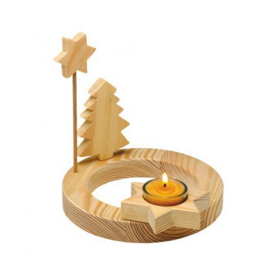Adventskranz single - geöltes Massivholz - 18 cm