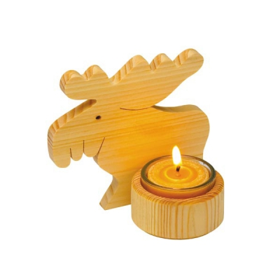 Moose light - nature - pine wood - with candle holder - 11 cm