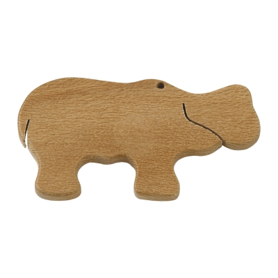 Magnetic pin - Hippo - Solid wood - 6 cm