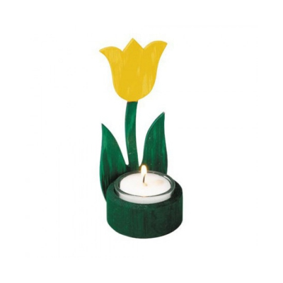 Wood flowers - tulips light - yellow - hand painted - 14 cm