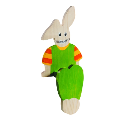 Wooden figures Hare - Edge stool - hand painted - 30 cm